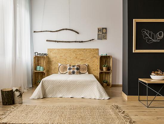chambre avec parquet en bois massif